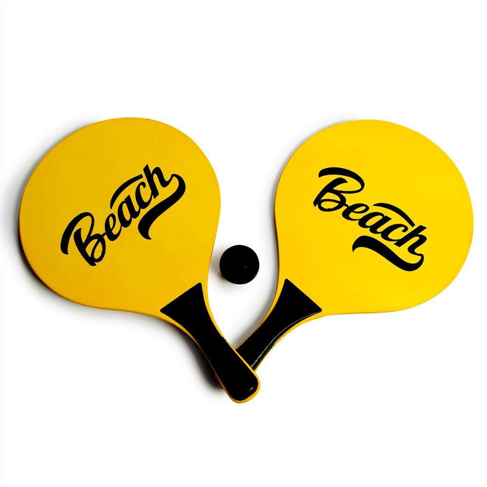 DECOQ High Quality Promotional OEM Printing Wooden Beach Tennis Racket Paddle Ball Game Set