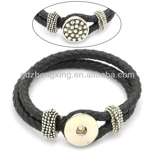 Black Braided Cord Silver Button Bracelet For Girls