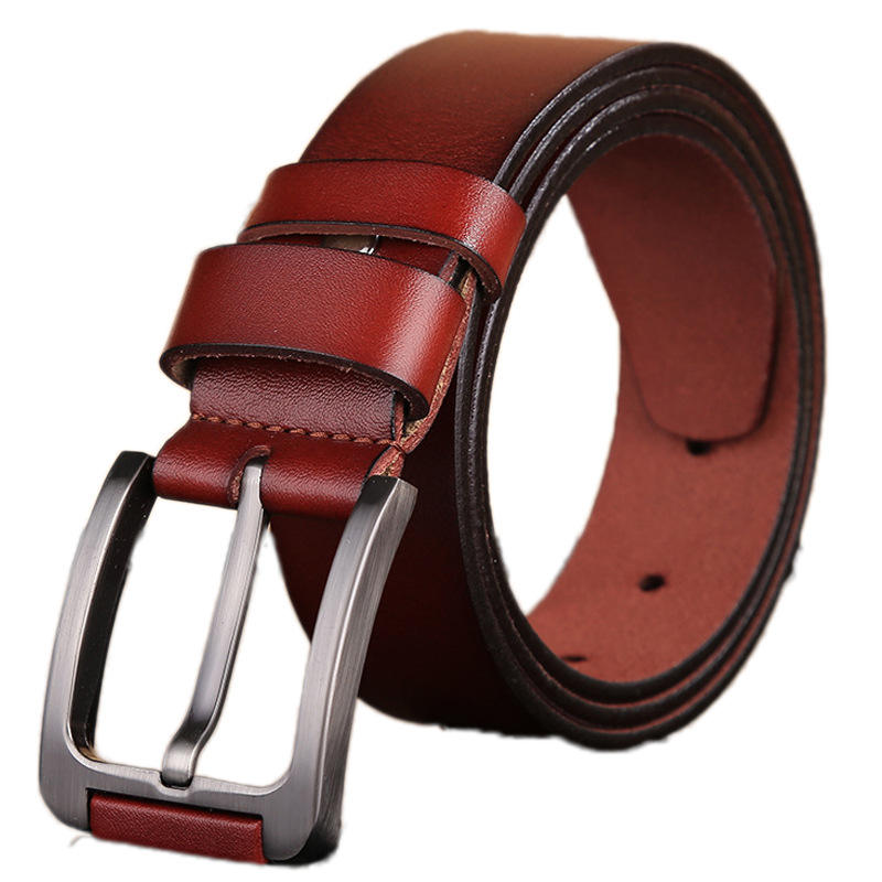 3.8cm width high quality zinc alloy pin buckle virst class genuine leather belts for men