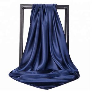 solid color square 90*90cm plain satin silk headwear hijab scarf