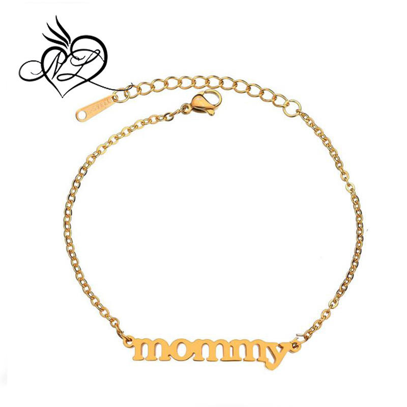 Mother's Day Gift Metal Environmentally Friendly Plating Women Stainless Steel Mommy Bracelet For Mother Mom