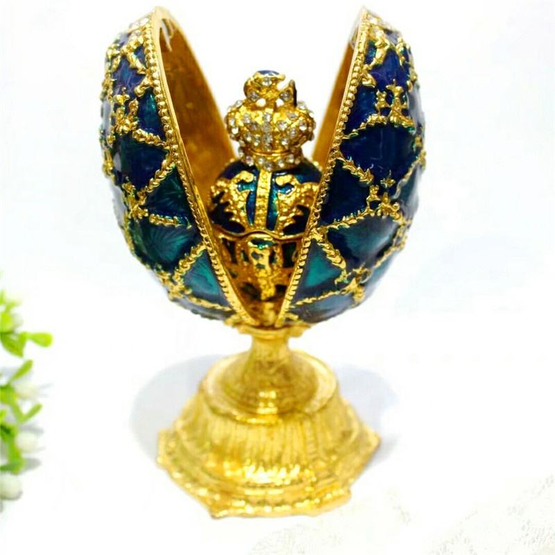 High-grade enamel metal diamond jewelry ring box home decoration Faberge Easter egg