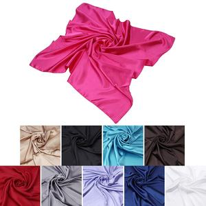 China Factory Wholesale High Quality Satin Silk Print Solid Color Square Scarf