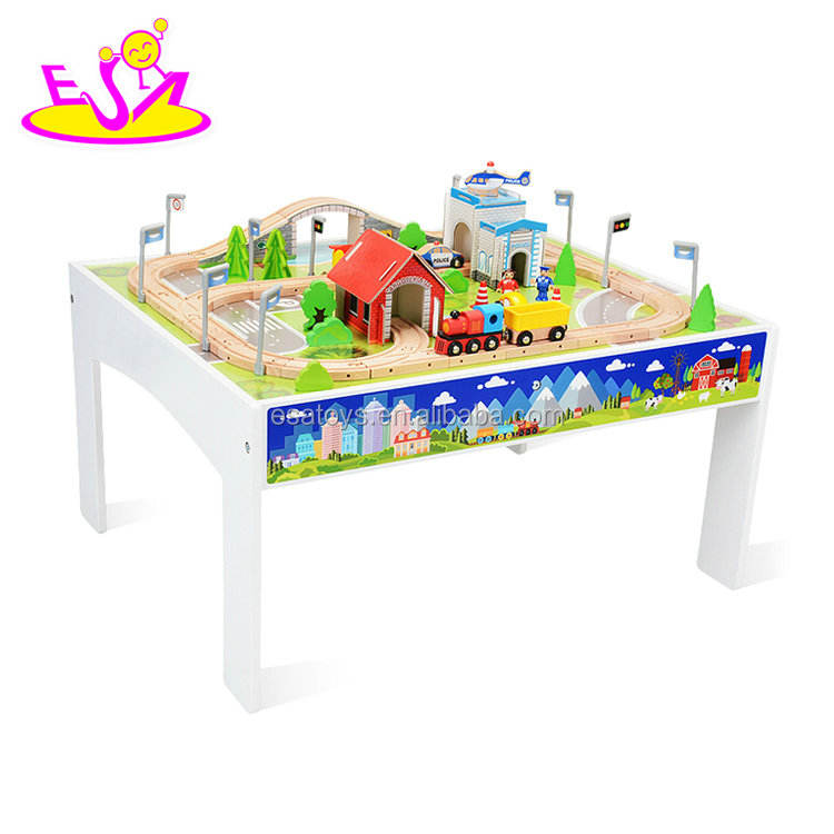 New hottest 80 pcs kids wooden large train tracks toys with table W04C084