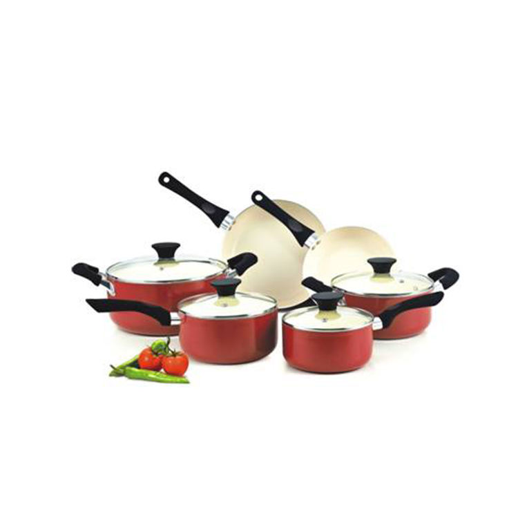 10pcs Aluminium colorful cooking sets with frypan milk pan and casserole cream ceramic coated cookware set