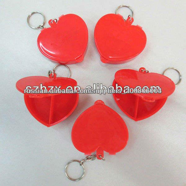 Пластиковые формы сердца запираемый таблетницы с брелок