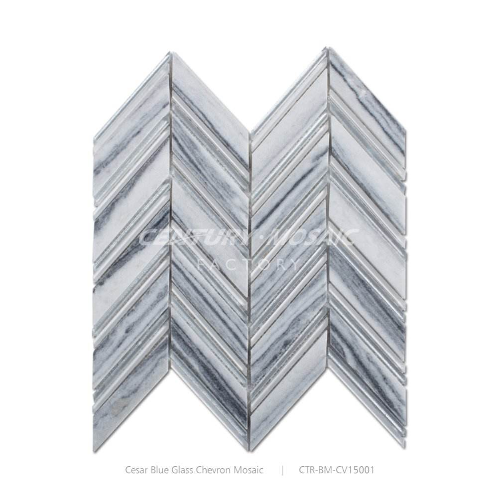 Century Wholesale Lots Chevron Clouds Grey Mixed Glass Mosaic Tiles