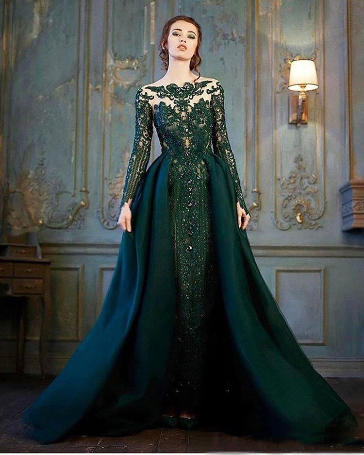 Modest Emerald Hunter Verde Manga Comprida Vestido de Noite Formal Com Trem Destacável 2019 Luxury Lace Frisada Sereia Prom Desgaste