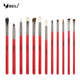 BEILI Pro 12pcs Red Eye Makeup Brushes Tool Set Cosmetic Eyeshadow Blending Eyebrow Eyeliner Goat Bristles Makeup Brushes Kits