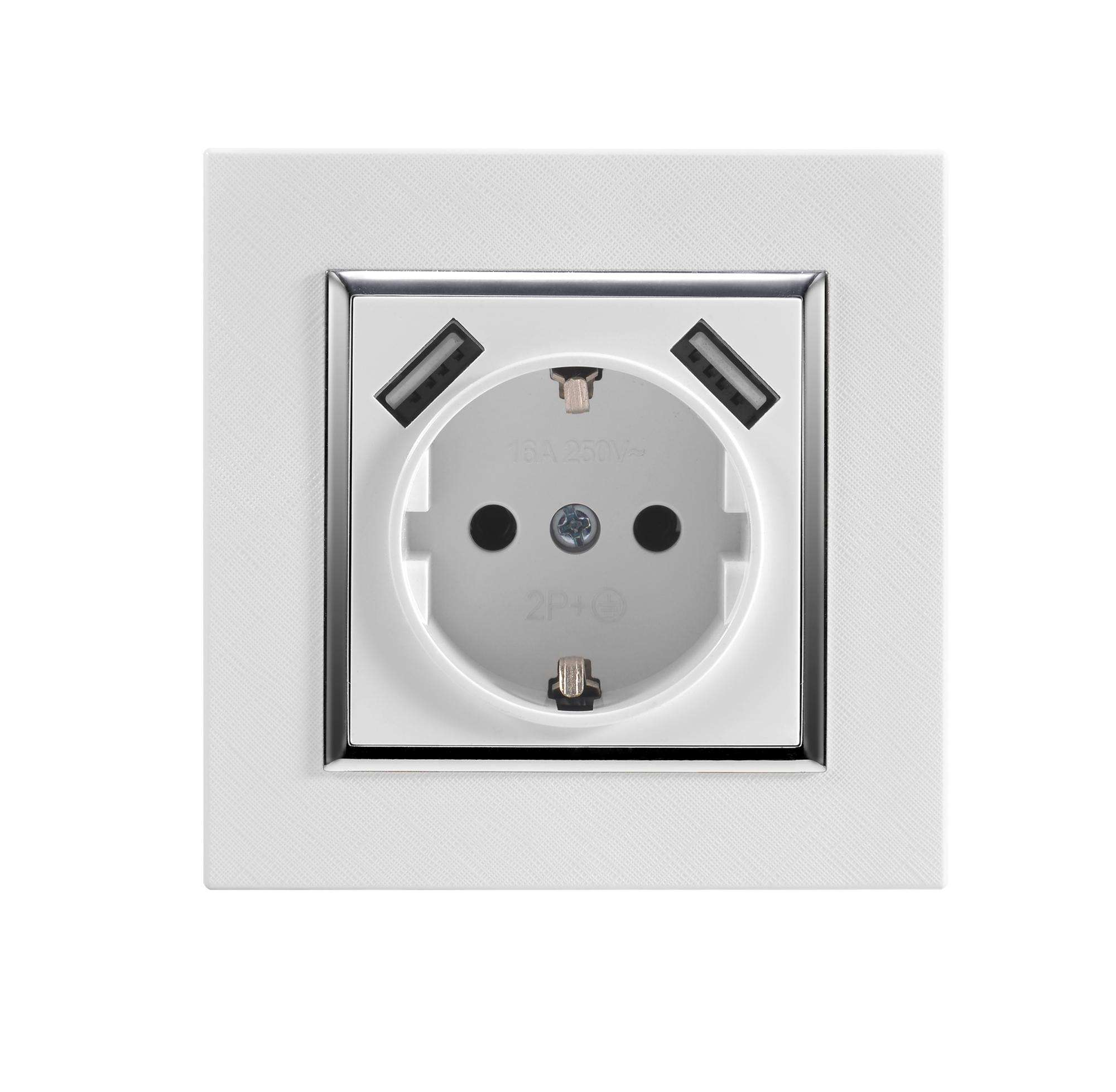 Hoge kwaliteit 2.1A EURO usb outlet stopcontact