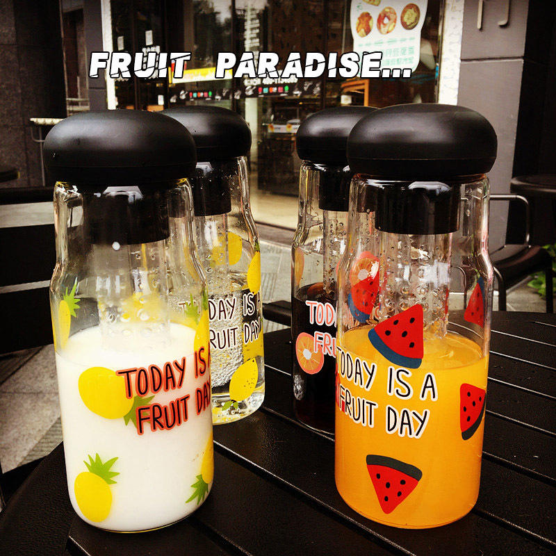 Drinking Juice Glass Bottle Fancy Fruit Infuser Water Bottle
