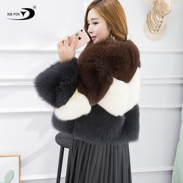 2020 High Quality 3-color Stitching Real Fox Fur Coat Jacket New Winter Plus Size Coat Women Real Fox Fur Coat