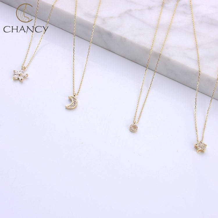 Simple 14k or lune pendentif collier