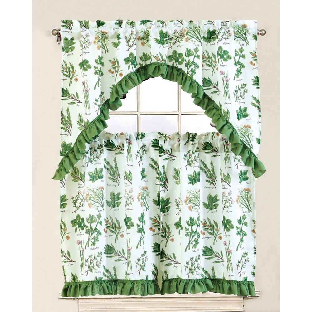 Amazon Bestseller Elegant Design 3pcs Set Ready Made Kitchen Curtains in Dongguan