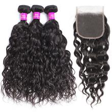 Water Wave Brazilian Human Hair Bundles With Closure