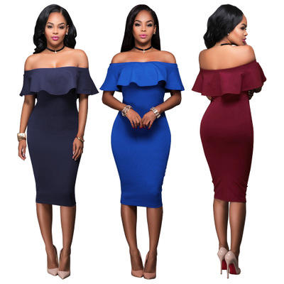 Ready to Ship Wholesale Women Sexy Close Off Shoulder Thin Buttock Backless Hot Style Evening Party Dress Skirt
