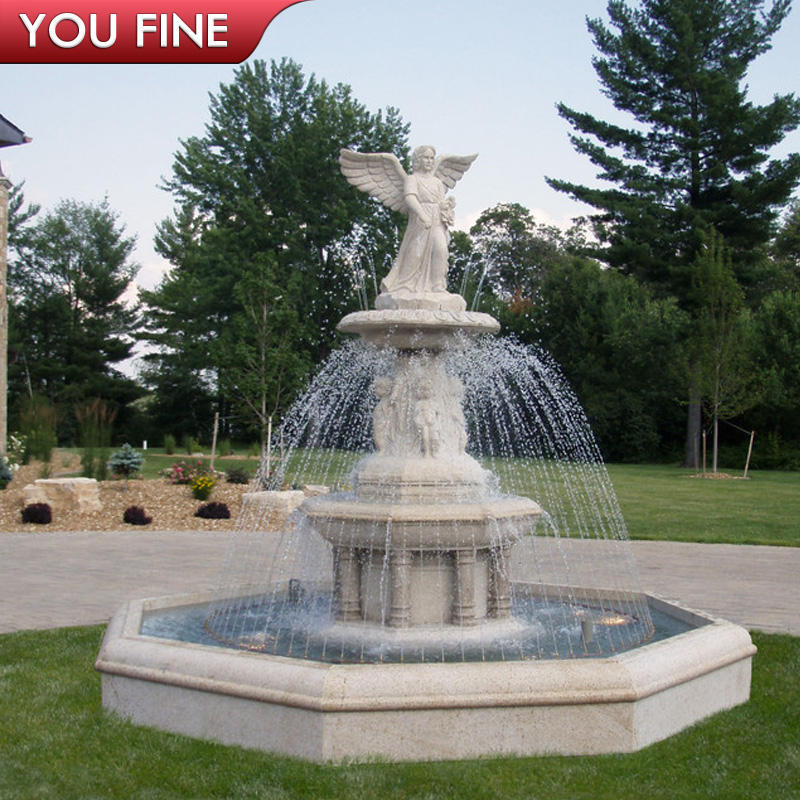 Carved Natural Marble Angel Water Fountain outdoor