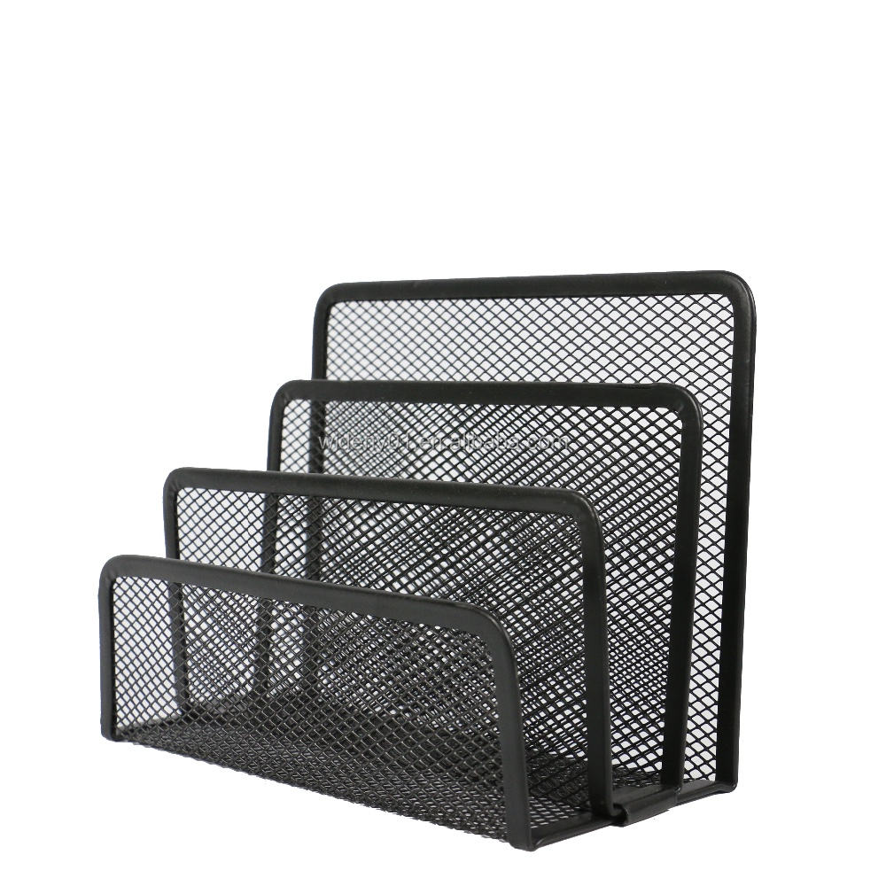 Wholesale office supply wideny fancy powder coated mesh metal wire desktop letter holder