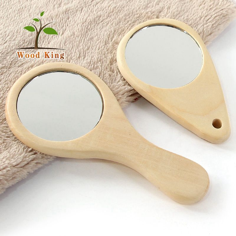Mini Make Up Lens Appearance Little Girls Wood Compact Makeup Antique Pocket Wooden Mirror