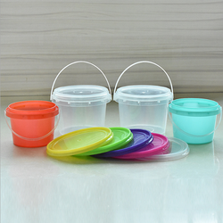 High quality bpa free 500ml custom drinking bucket plastic ice cream bucket with lid and handle
