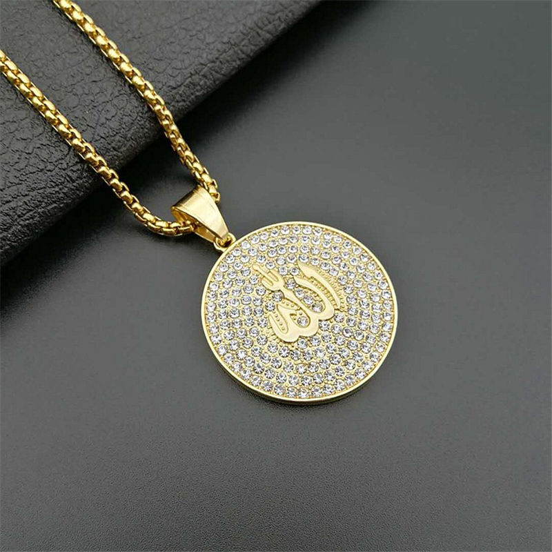 MJ Jewelry Arabic Muslim Jewelry Titanium Steel Gold Plated Full Diamond Islamic Pendant Necklace