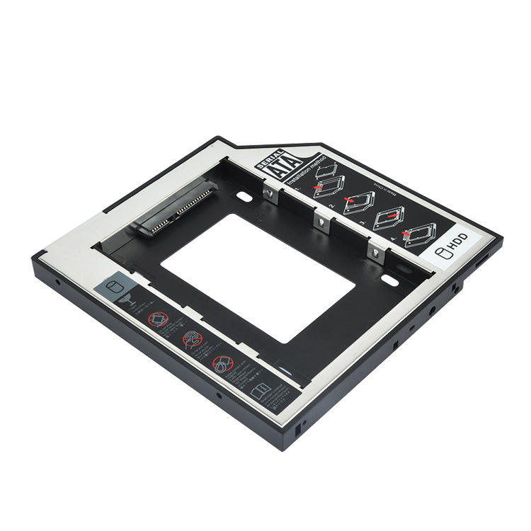 Aluminum laptop SATA TO SATA 9MM Hard Driver Bracket 2nd hdd Caddy