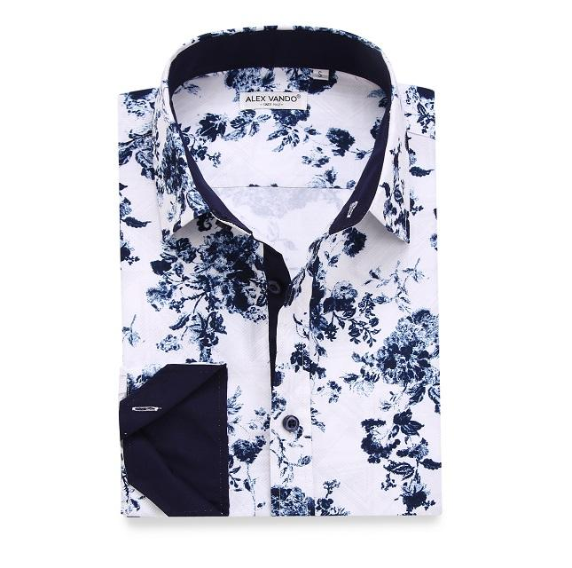 2020 Get Free sample china shirt factory customized white men floral print shirts, flowers shirt for men