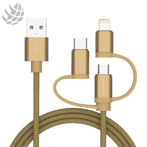 Nylon Braided 3 In 1 Fast Mobile Phone Use mfi Usb Charger Charging Data Cable For Iphone Apple