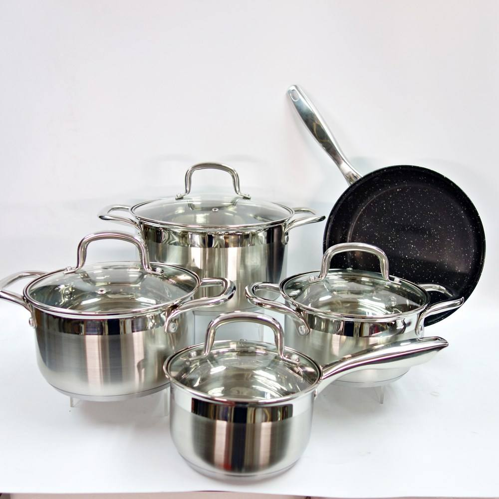 MSF 9pcs stainless steel non stick cookware set wholesale cooking pot with fry pan MSF-8127-1