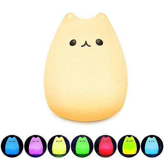 Soft Silicone Animal Cat USB Rechargeable 7-color Tap LED Kids Baby Children Night Light