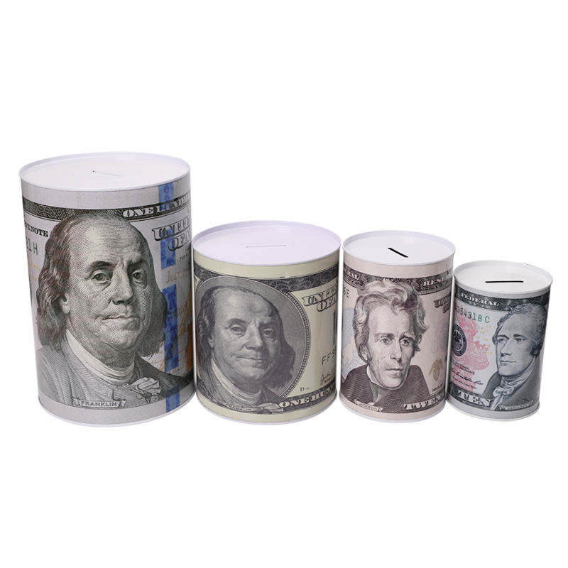 TOPSTHINK Metal cylindrical coin bank US dollar piggy bank