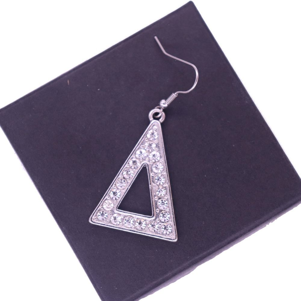 New Fashion Metal Rhinestone Triangles Shape Greek Letters Sorority DST Label Delta Theta Charm Earrings Society Jewelry
