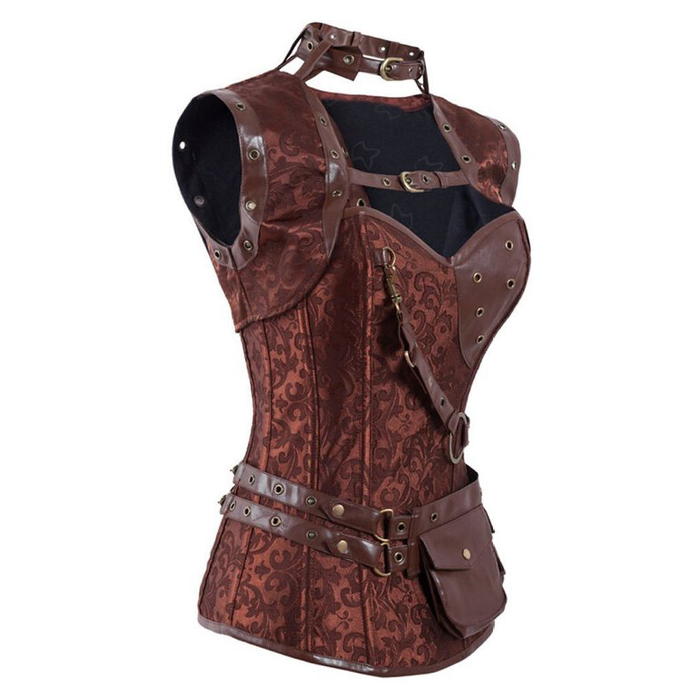 Steampunk High Neck Corselet Top Retro Gothic Steampunk Bustier Corsets Brown Steel Boned Brocade Vintage for Women
