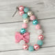 Baby girl boutique princess chunky round necklace pearl with pink bow