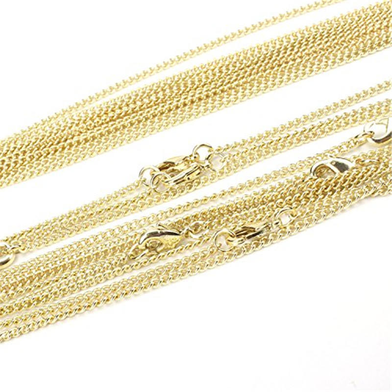 Gold Plated Solid Brass Curb Link Chain Necklace Chain for Jewelry Making