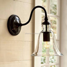 Vintage iron bracket fixtures bell glass sconce indoor wall light for hotel bathroom