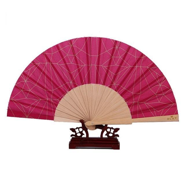 23cm chinese custom print wood ribs fabric folding hand fans