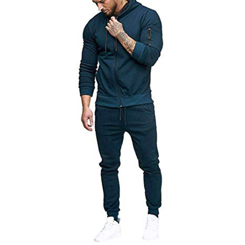 Wholesale best seller custom logo fashion sports tracksuit hoodie sweatshirt jacket man sport wear suit