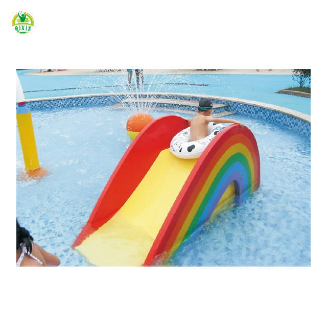 Colorful fiberglass water park slides water rainbow bridge rainbow play systems QX-082A