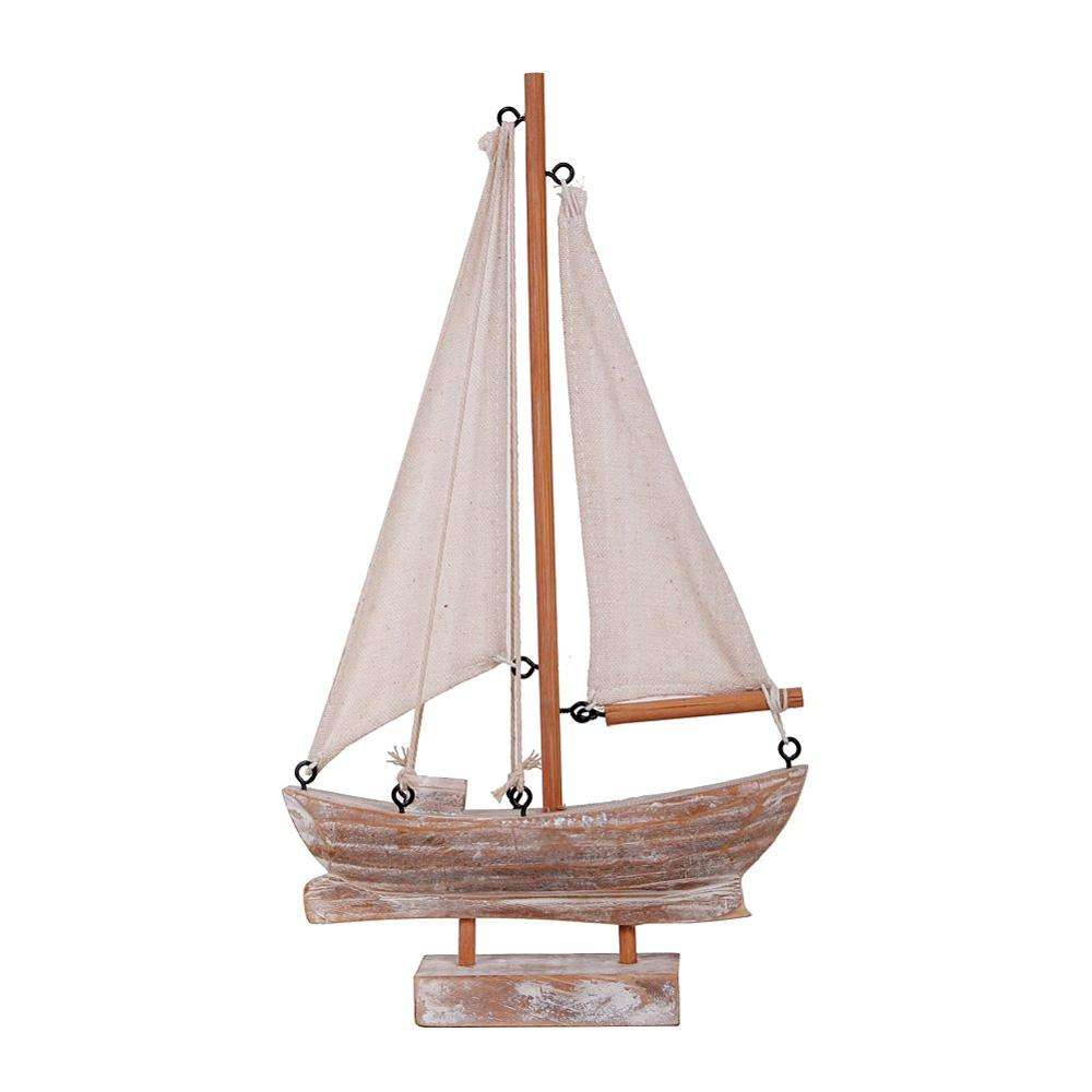 new products Nautical Decor Wooden Sailboat Yacht Ship Model