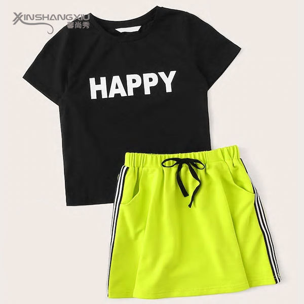 Kids summer suits custom print wholesale girls clothing sets with t shirt and skirt