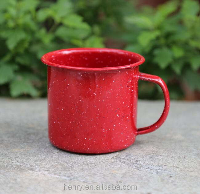 20oz enamel mug with white speckle red color