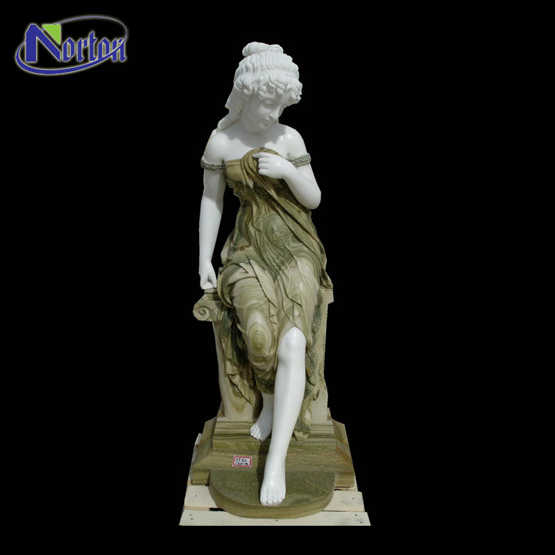 Professional western marble sculpture price sitting beautiful green stone lady statues