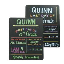 Custom Product Solutions Reusable First & Last Day of School Chalkboard Sign. Photo Prop Board, Black w/color print