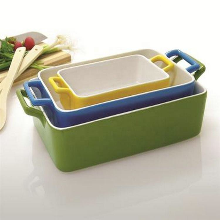 Microwave safe printed outside deep cheap rectangular stoneware bakeware with handle
