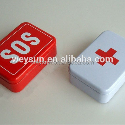 50pcs SOS / + Tin Box Case Emegency Lid Container for Survival Gear Kits Set Self-Help First Aid Metal Pill Box 96x66x30 mm