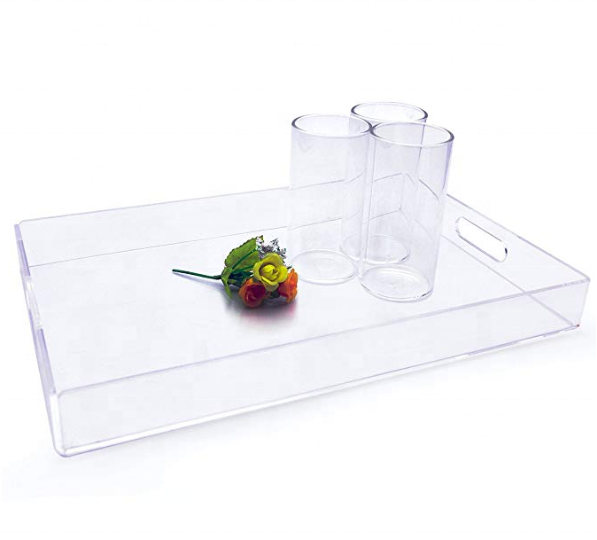 Clear Acrylic Rectangular Serving Tray for Commercial Food Tray for Breakfast, Tea