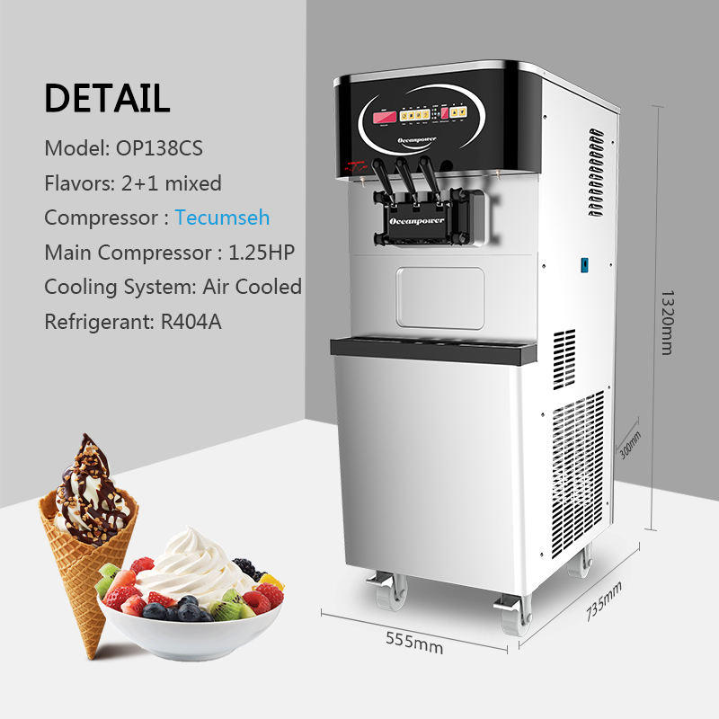 Oceanpower OP138CS Ice Cream Machine Commercial Soft Serve for Make with Pre-cooling System
