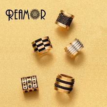 REAMOR REAMOR 316l Stainless Steel PVD Metal Gold Spacer Unique Micro Paved Bead Accessories for DIY Men Bracelet Jewelry Making