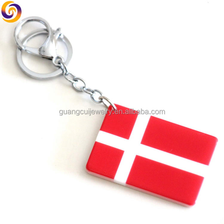 Demark National Flag Red Pattern Leather Metal Key Chain Ring Car Keychain Gift